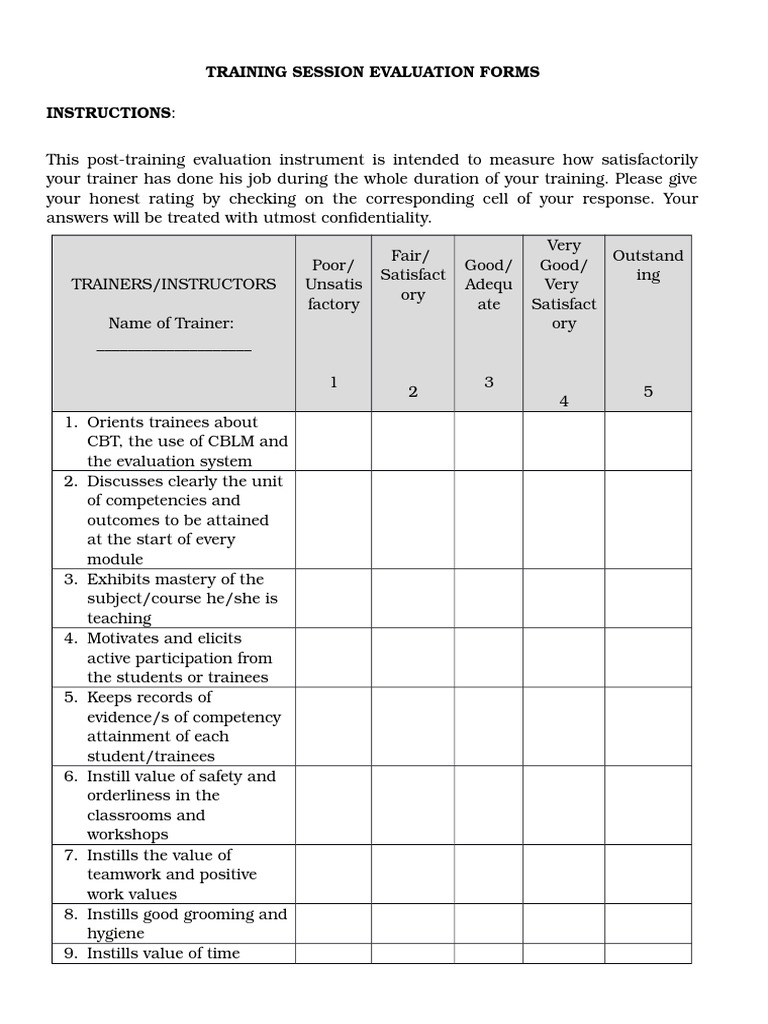 On The Job Training Evaluation Form Free Word Templates  On The Job Training Evaluation Form