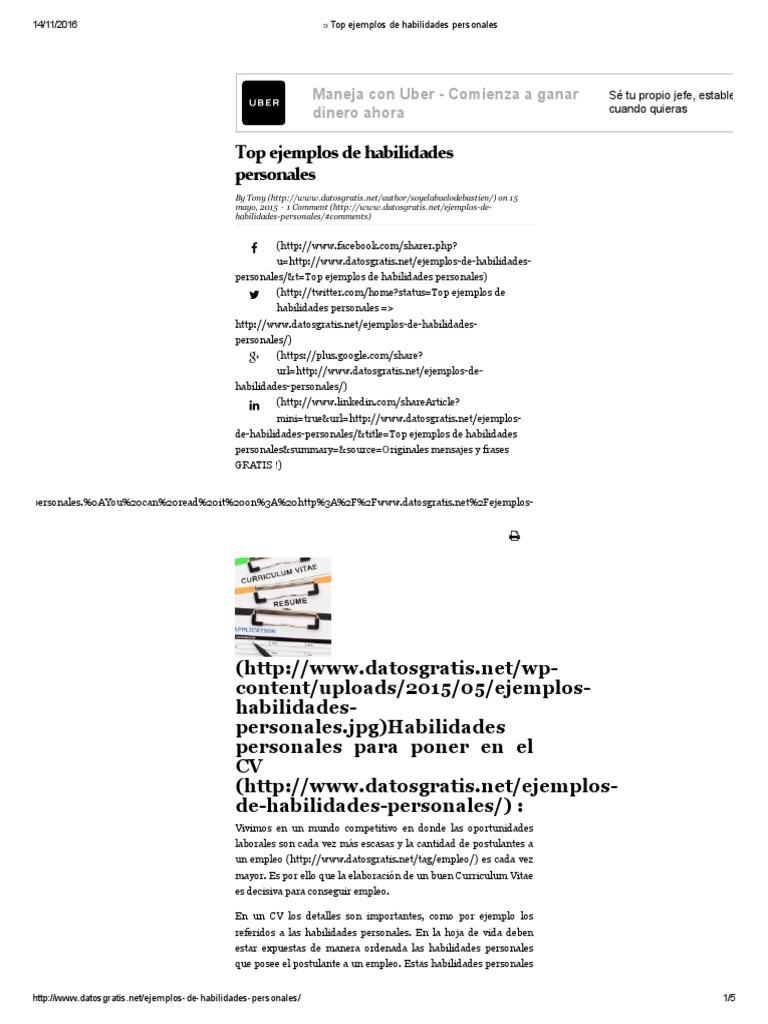 Atractivo Resume Ejemplos De Habilidades Motivo - Colección De ...