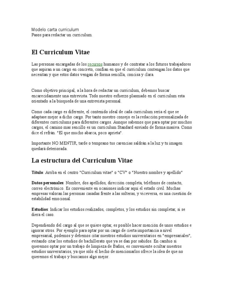 Redaccion De Curriculum. Simple Redaccion De Curriculum With ...