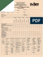 School Health Examination Card for Elementary