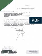 Cartas de renuncia de 12 senadores del PRD