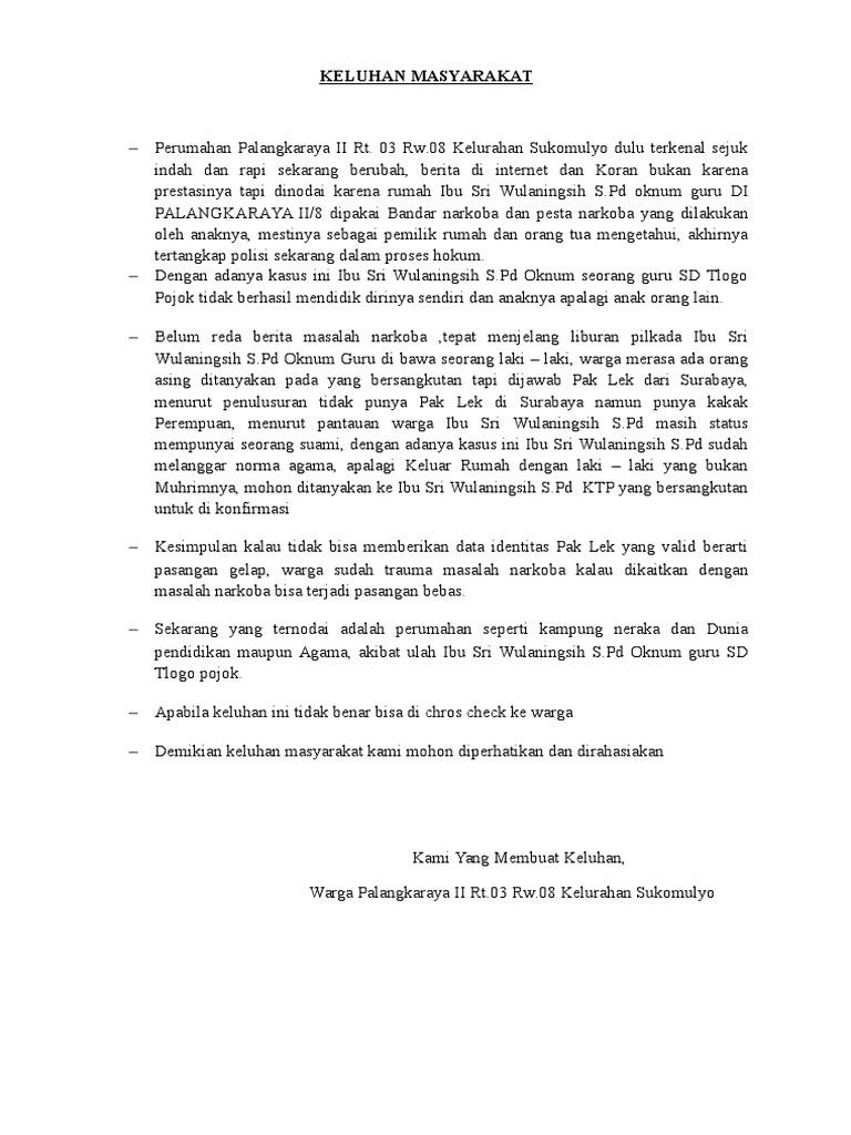 Contoh Surat Pengaduan Masyarakat Ke Kelurahan Kumpulan Surat Penting