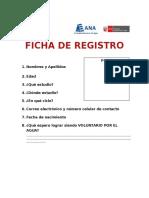 Ficha de Registro Voluntarios Del Agua 2017
