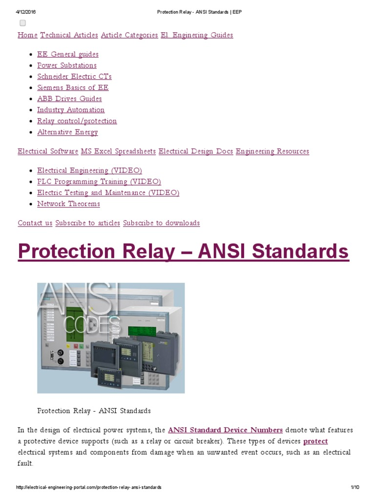 Protection Relay Ansi Standards Eep Transformer Electrical Maintenance