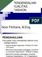 Materi Pengantar Pengendalian Kualitas Fashion