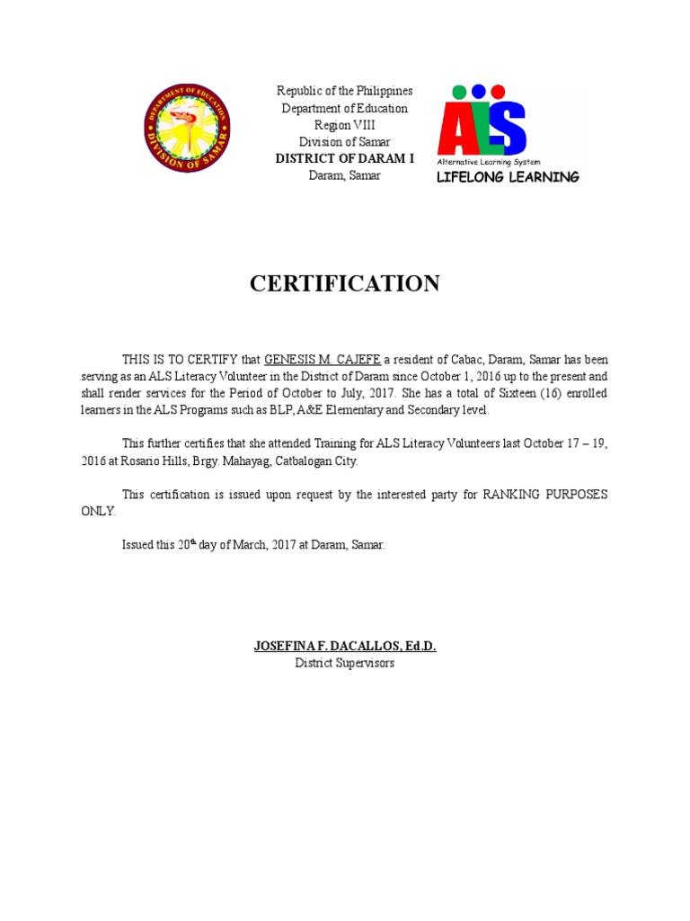 Certification Of Als