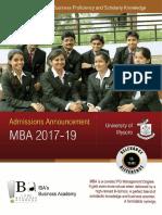 IBA Bangalore - MBA 2017-19