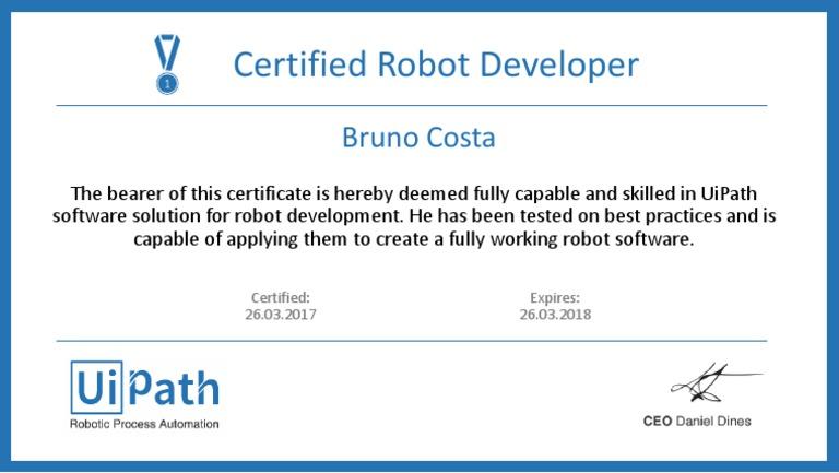 UiPath Certification - Bruno Costa