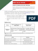 Lakshmi Vilas Bank Recruitment Notification 2017 - Probationary Officers (PO)