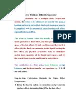 Calculation for Multiple Effect Evaporator
