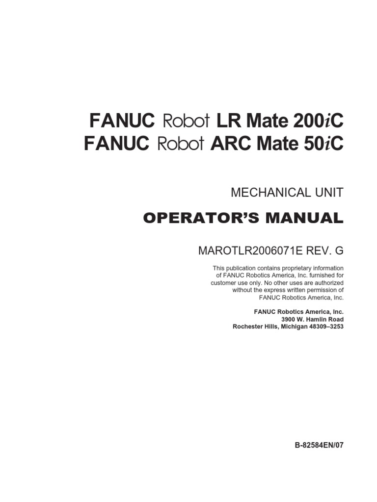 lr mate 200ic operators manual pdf robot technology rh scribd com fanuc lr mate 200ib manual fanuc lr mate 200ic teach pendant manual