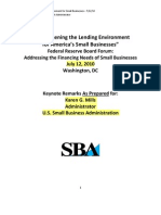 Small Business Administration on financing for small businesses in 2010