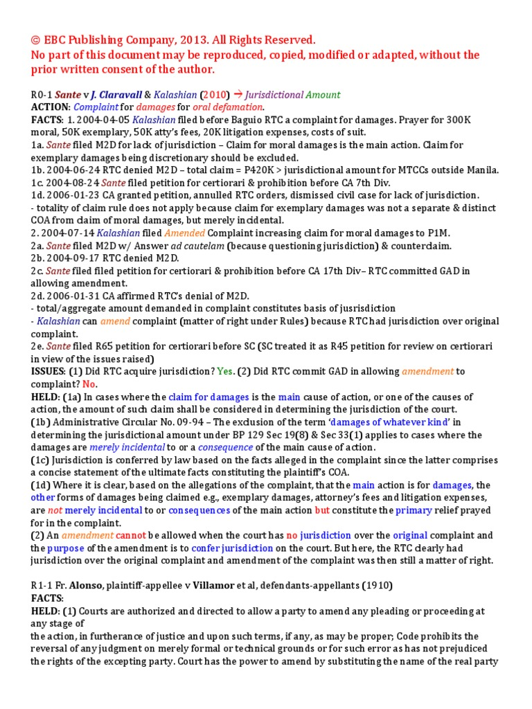 0 Civ Pro Case Digests | Pleading | Lawsuit