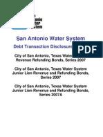 San Antonio Water System Series 2007 Debt Disclosure Report