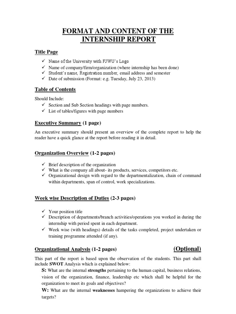 Format and Content of the Internship Report | Evaluation ...