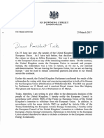 Lettre Theresa May à Donald Tusk