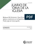 Historiografía de La Iglesia en Argentina.