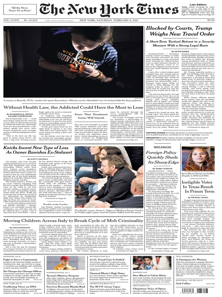 4b0349342bc The New York Times February 11 2017 | United States Government ...
