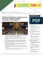 Gobierno expondrá en organismo de la ONU sobre empoderamiento económico de las mujeres
