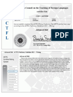 actfl writing certificate  advanced-mid