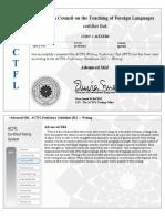 actfl writing certificate  advanced-mid
