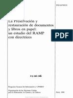 La Preservación y Restauración de Documentos y Libros en Papel Un Estudio Del RAMP Con Directrices