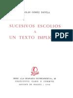 Sucesivos Escolios a Un Texto Implicito (Nicolás Gómez Dávila, 1992)