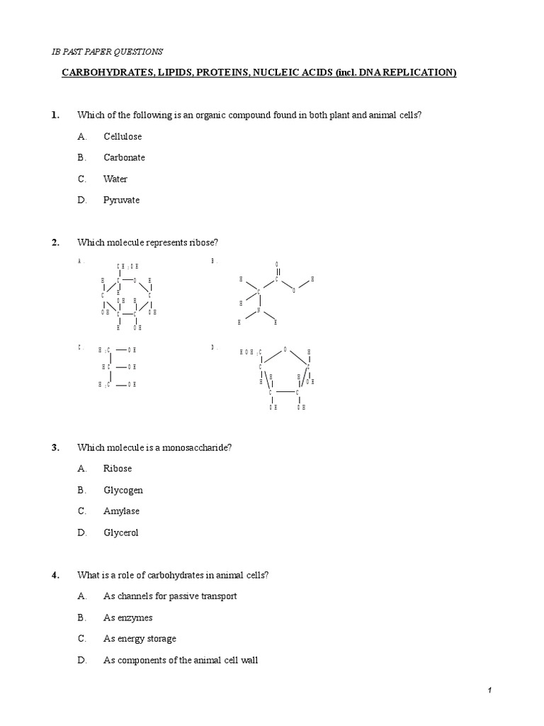 Ib Past Paper Questions Carbohydrates Lipids Proteins And Nucleic
