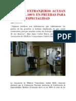 Médicos Extranjeros Acusan Alza