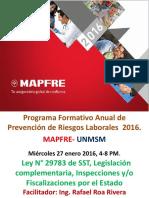 1 Ley de Sst Fiscalizacion Laboral Inspecciones Laborales y Actuaciones Inspectivas Sunafil Roa 27 Ene 16