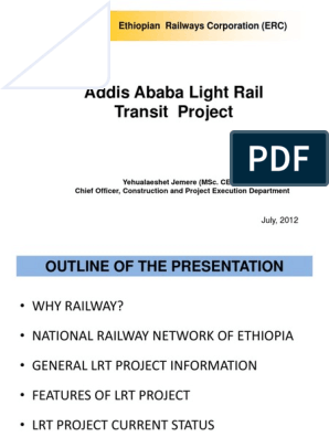Addis Ababa Light Rail Transit Project: Ethiopian Railways