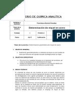 # 9 - DETERMINACIÓN GRAVIMÉTRICA DE NÍQUEL EN ACERO