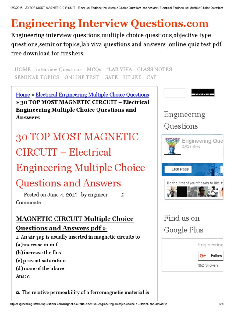 30 TOP MOST MAGNETIC CIRCUIT - Electrical Engineering Multiple