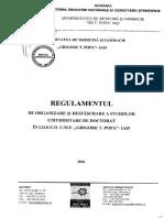 """Regulament de organizare şi desfăşurare a studiilor universitare de doctorat – I.O.S.U.D. – U.M.F. """"Grigore T. Popa"""" Iaşi"""