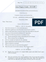 CS1351 AI Question Paper May June 2014