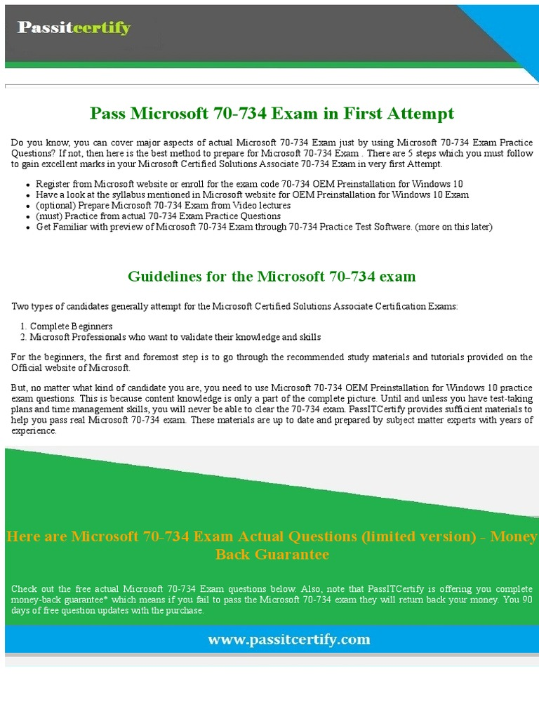 Pass 70 734 microsoft certified professional exam by passitcertify pass 70 734 microsoft certified professional exam by passitcertify windows 10 test assessment xflitez Choice Image