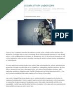 Maximizing Data Utility Under GDPR