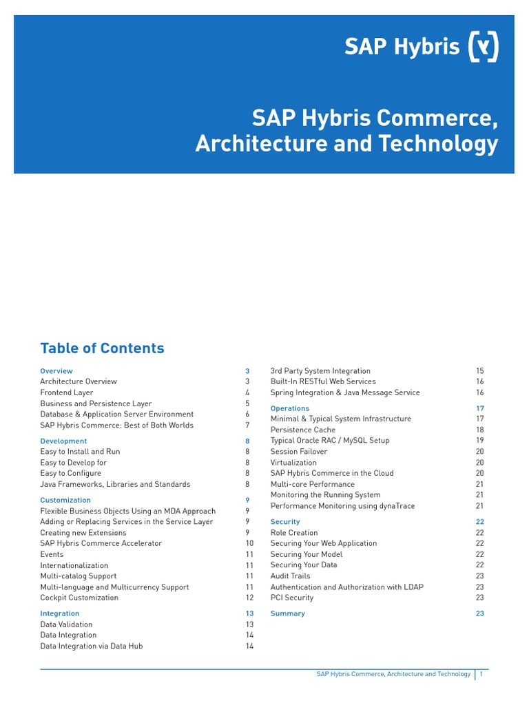 WP SAP Hybris Commerce Architecture and Technology En | Application