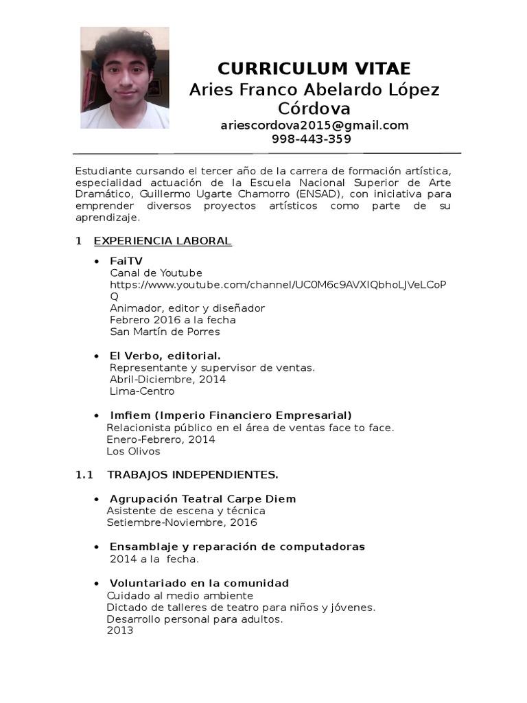 Increíble Currículum Vitae Para Jóvenes Sin Experiencia Modelo ...