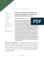 T1DF Press Release - T1DF Files Insulin Lawsuit 2017-03