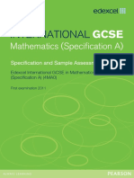 Edexcel International GCSE in Mathematics Spec A