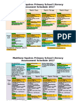 2017 Literacy Assessment Schedule