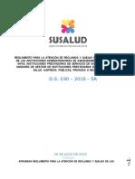 Nuevo Reglamento de Reclamos y Quejas - SUSALUD - 26.07.16 - D.S. 030 2016 SA