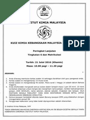 Kuiz Kebangsaan Malaysia K3m 2016 Peringkat Lanjutan Tingkatan 6 Dan Matrikulasi