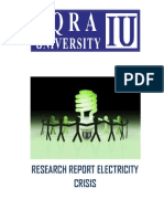 Electricity Crysis In Pakistan Research Report