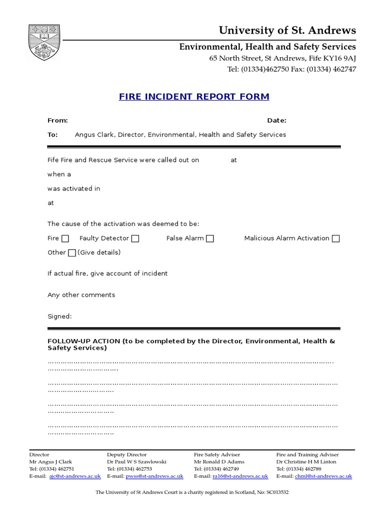 Fire Incident Report Form