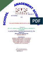 SYNOPSIS Solar Powered Mechanical Hacksaw