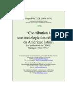 Roger Bastide - Contribution à une sociologie des religions en Amérique latine
