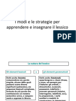 I Modelli E Le Strategie Per Insegnare Il Lessico 1