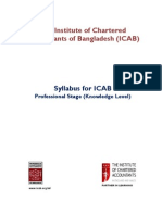 Syllabus of Knowledge Level for ICAB